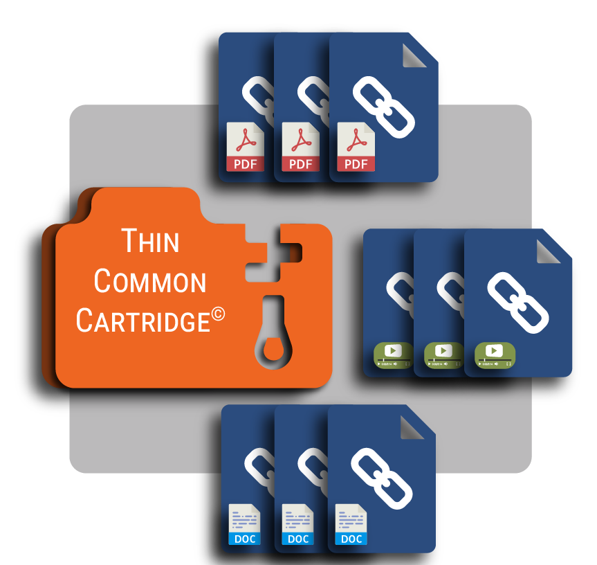 Thin Common Cartridges can contain only LTI Links, weblinks and metadata.